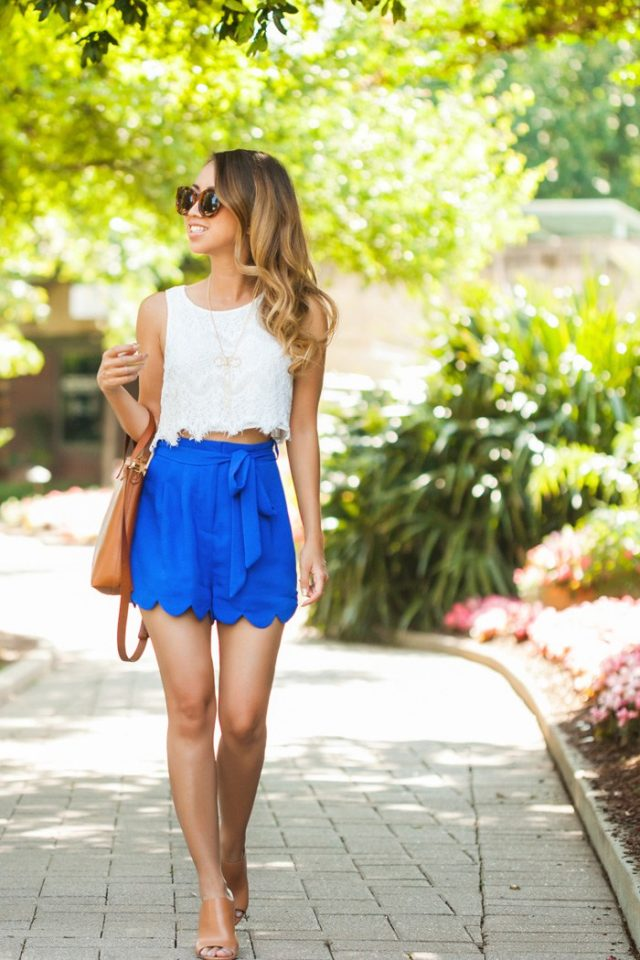 White Top and Blue Shorts via