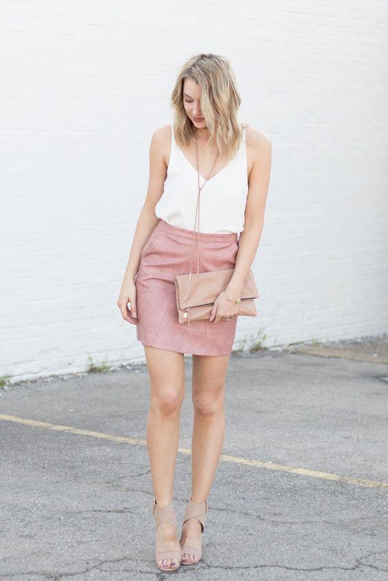 White Top and Pink Mini Skirt via