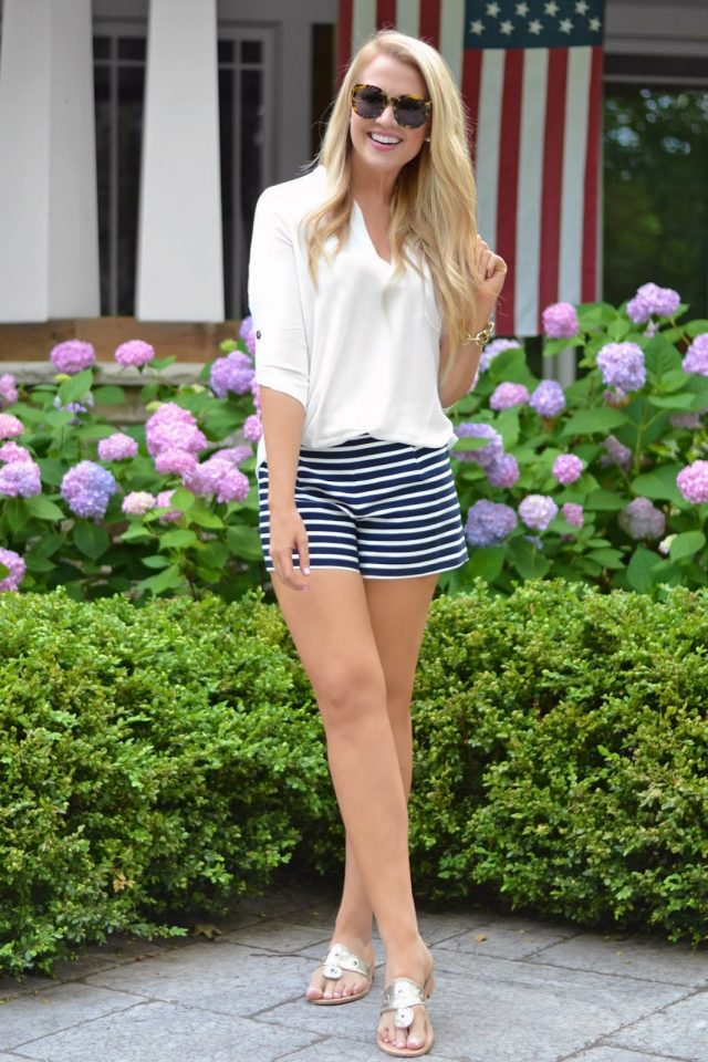 White Top and Striped Shorts via