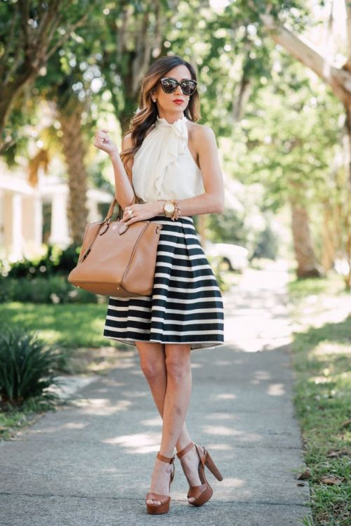 White Top and Striped Skirt via