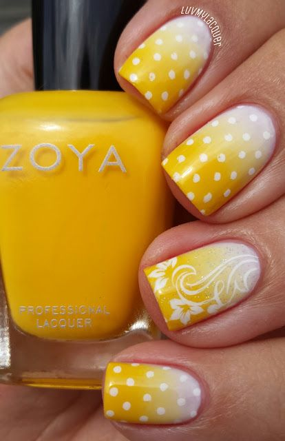 Yellow Floral Nails via