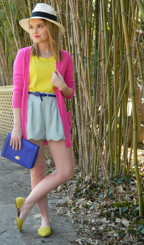 Yellow Top and Pale Shorts via