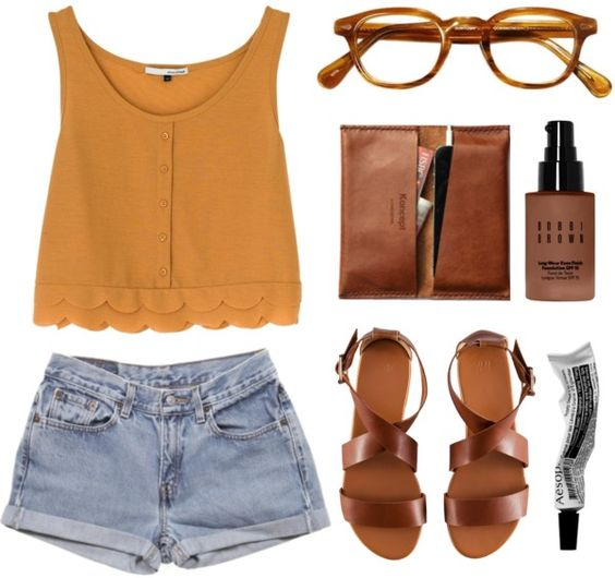30 Summer Outfit Ideas to Upgrade Your Look Kleren  Undergarments Sweater vest Sleeveless shirt Shorts Outfit ideeën Jeans fashion Culture Clothing