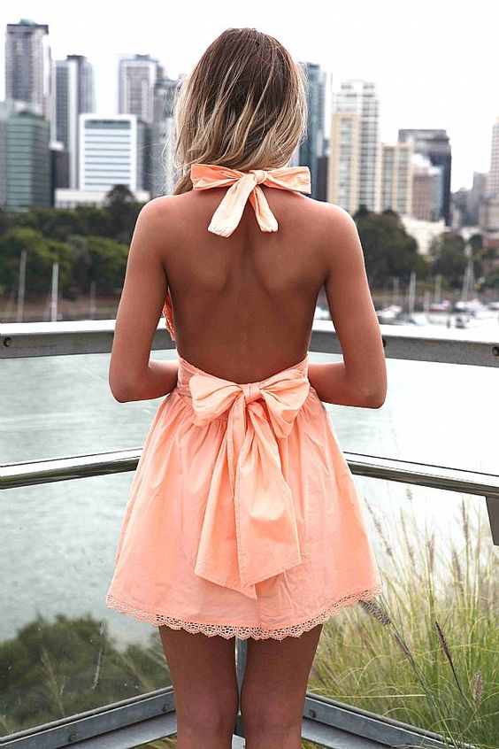 Backless Dress with Bows via