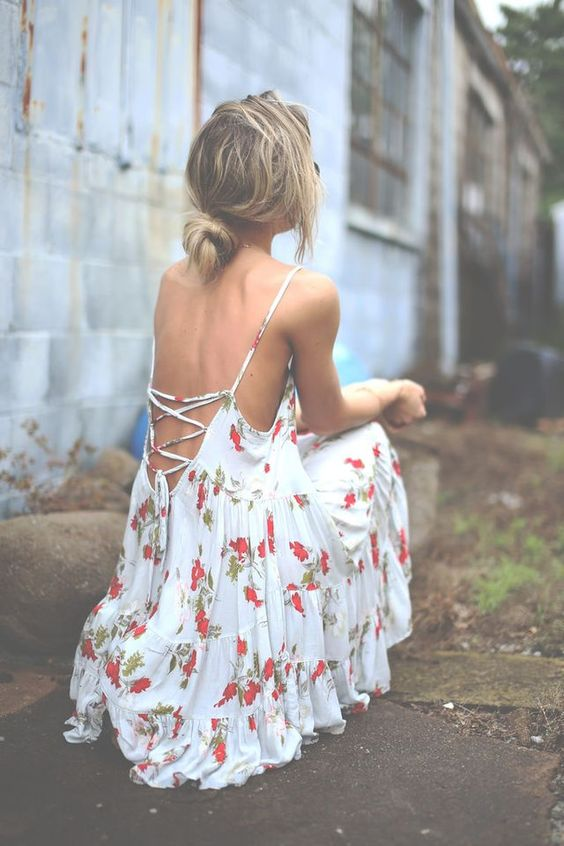 Backless Dress with Flower Patterns via