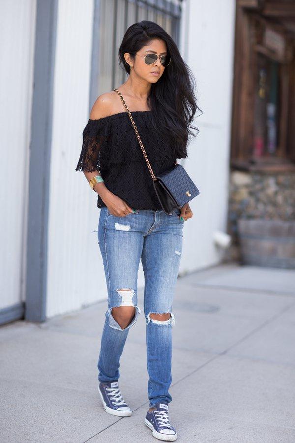 Black Crochet Top via