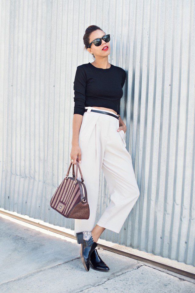 Black Crop Top and Flared White Pants via