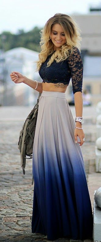 Black Crop Top and Ombre Skirt via