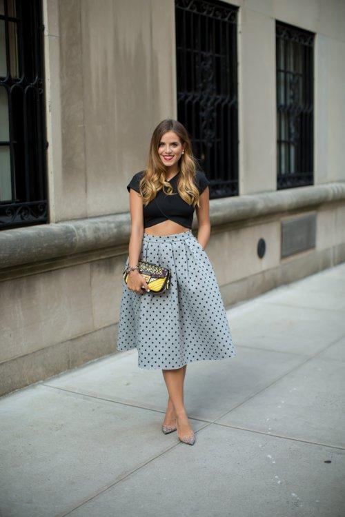 Black Crop Top and Polka Dot Skirt via