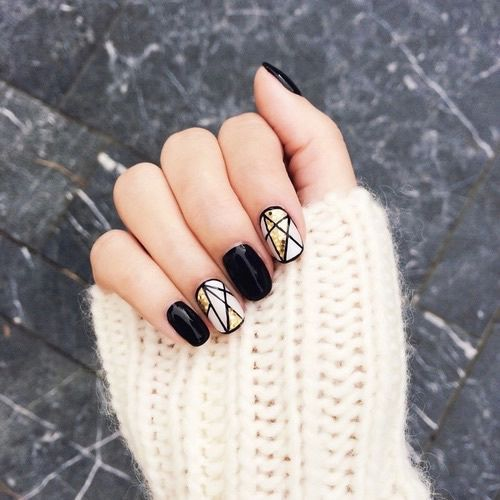 Black, Golden and White Nails via
