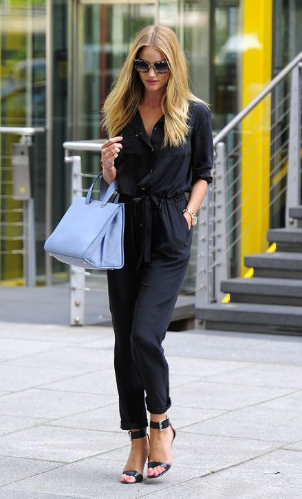 Black Jumpsuit with Blue Handbag via