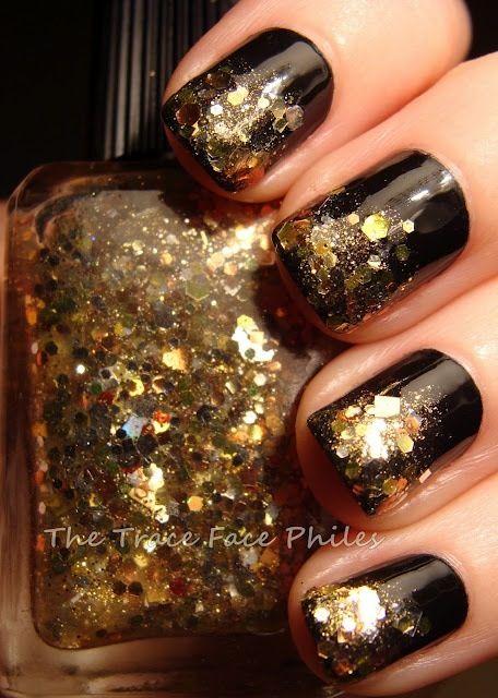 Black Nails with Glitter via