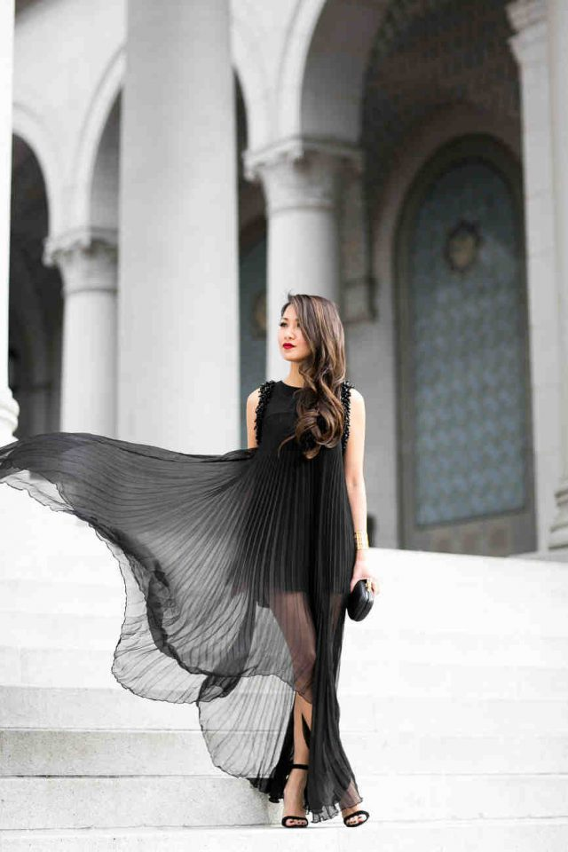 Black Pleated Dress via