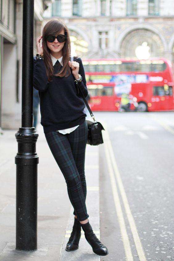 Black Sweater ,White Shirt and Plaid Pants via