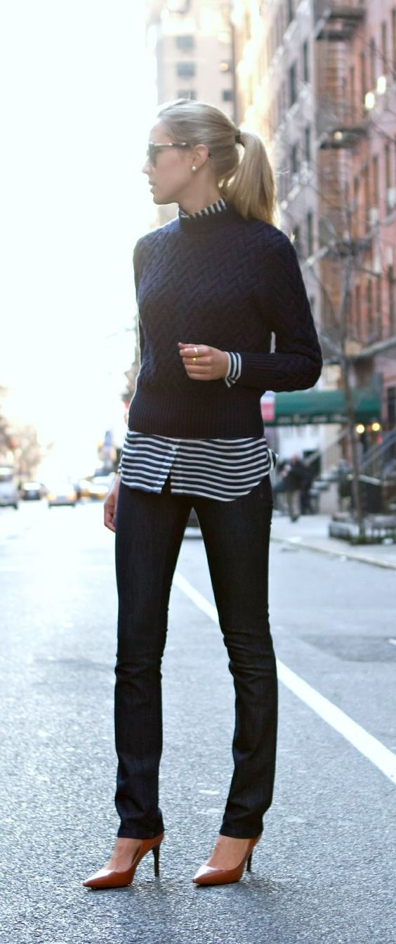 Black Sweater and Striped Shirt via