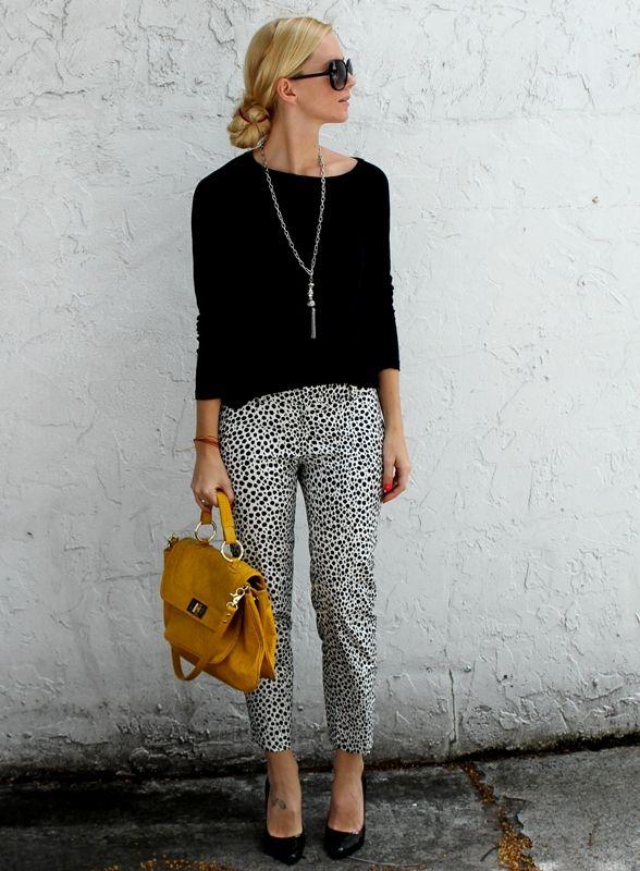 Black Top and Leopard Pants via
