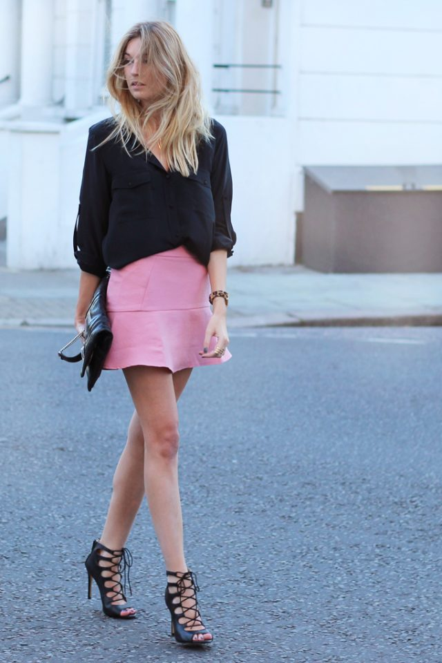 Black Top and Pink Skirt via