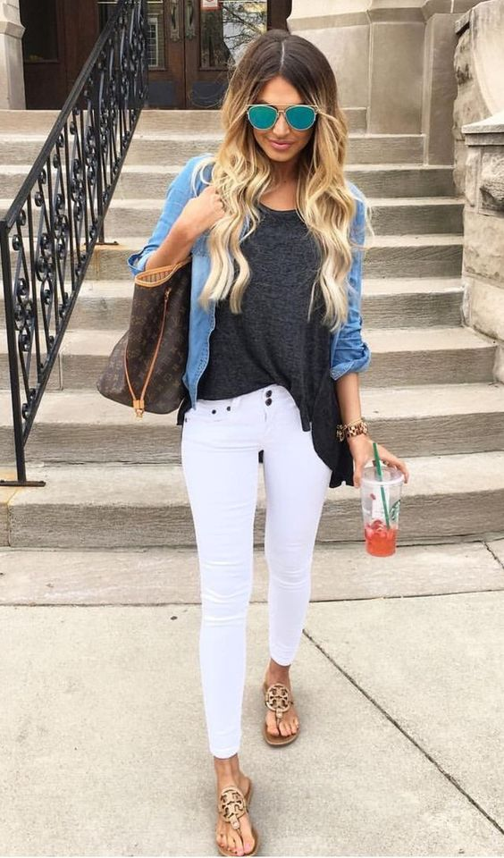 Black Top and White Jeans via
