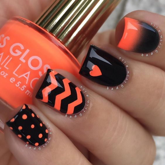Black and Red Nails via