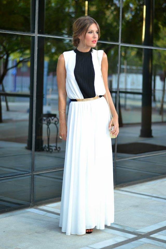 Black and White Pleated Dress via