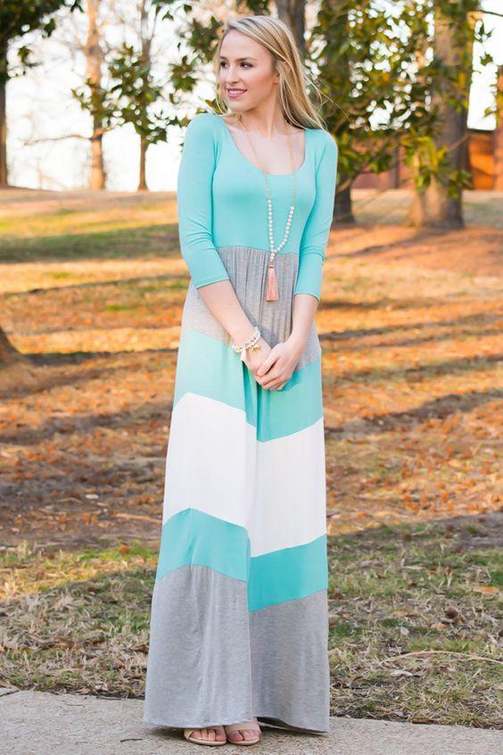 Block Color Maxi Dress via