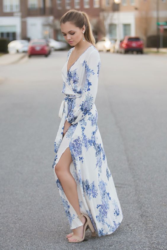 Blue Floral Maxi Dress and Nude High Heels via