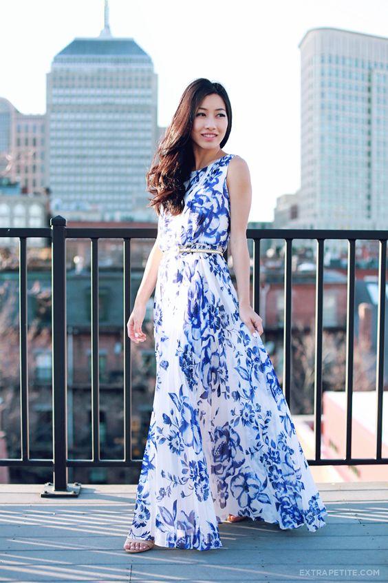 Blue Floral Maxi Dress via