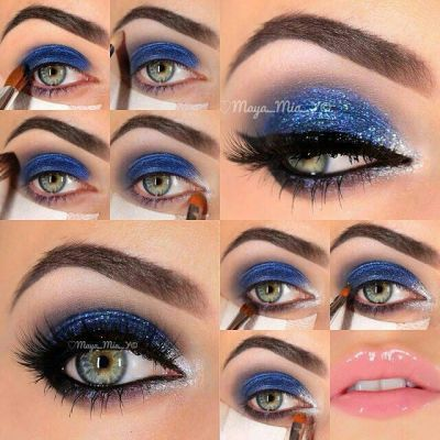 Blue Glitter Eye Makeup via