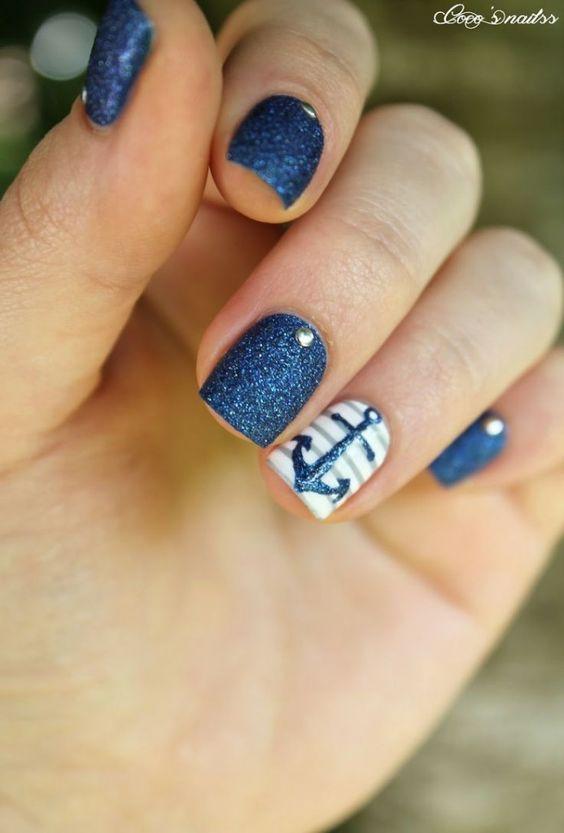 Blue Glitter Nails via