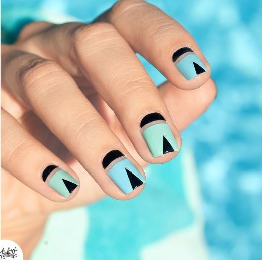 Blue, Green and Black Nails via