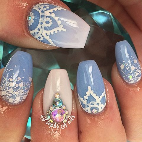 Blue Nails with Gems via