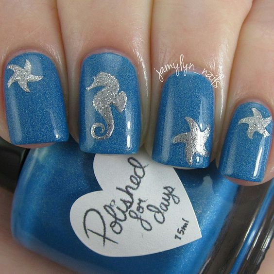 Blue Nails with Sliver Patterns via