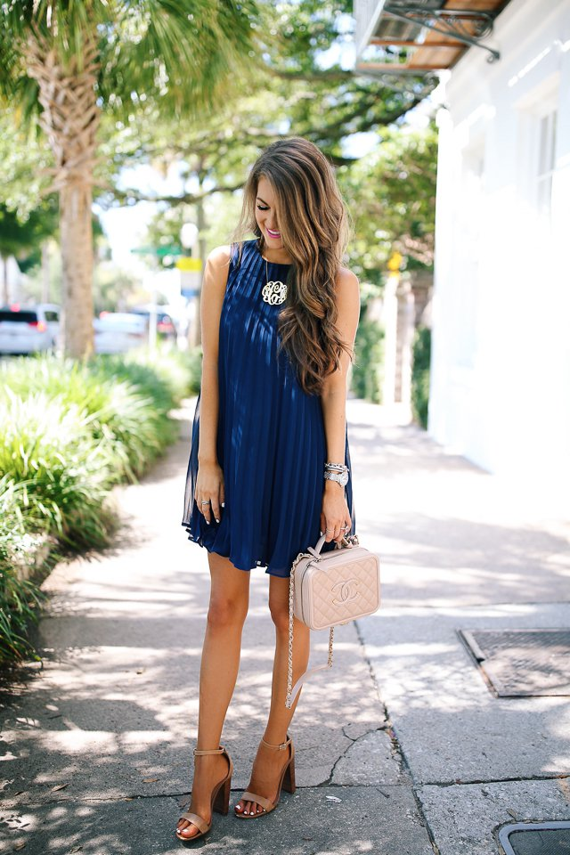 Blue Pleated Dress via