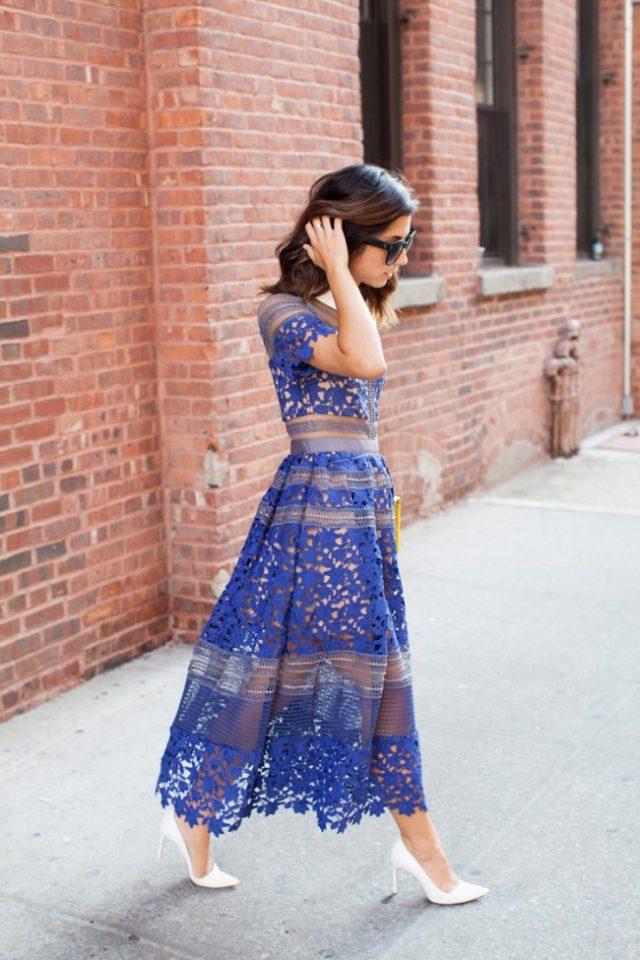 Blue Sheer Lace Midi Dress via