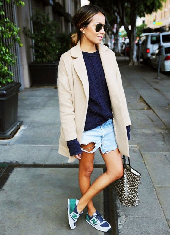 Blue Sweater, Ripped Shorts and Nude Blazer via