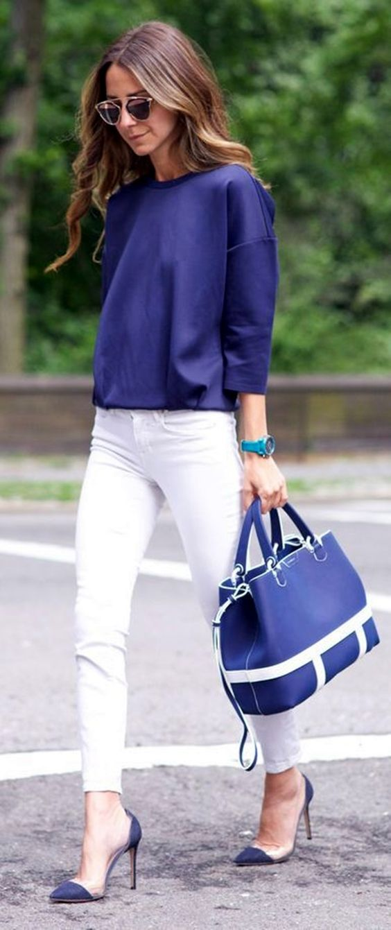 Blue Top and White Pants via