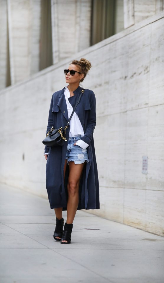 Blue Trench Coat with Shorts via