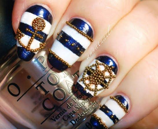 Blue and White Nails with Jewels via