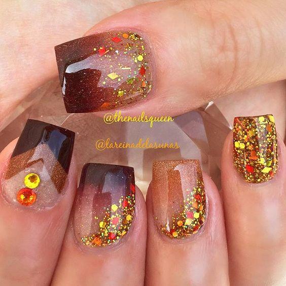 Bright Glitter Nails via