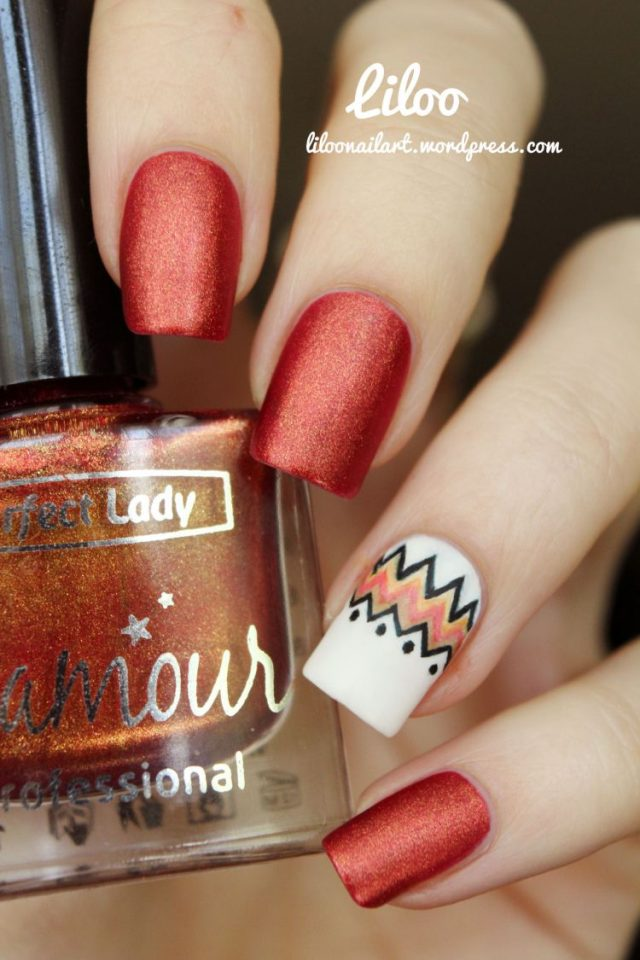 Bright Red Nails with Stylish Patterns via