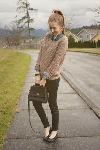 Camel Sweater and Denim Shirt via