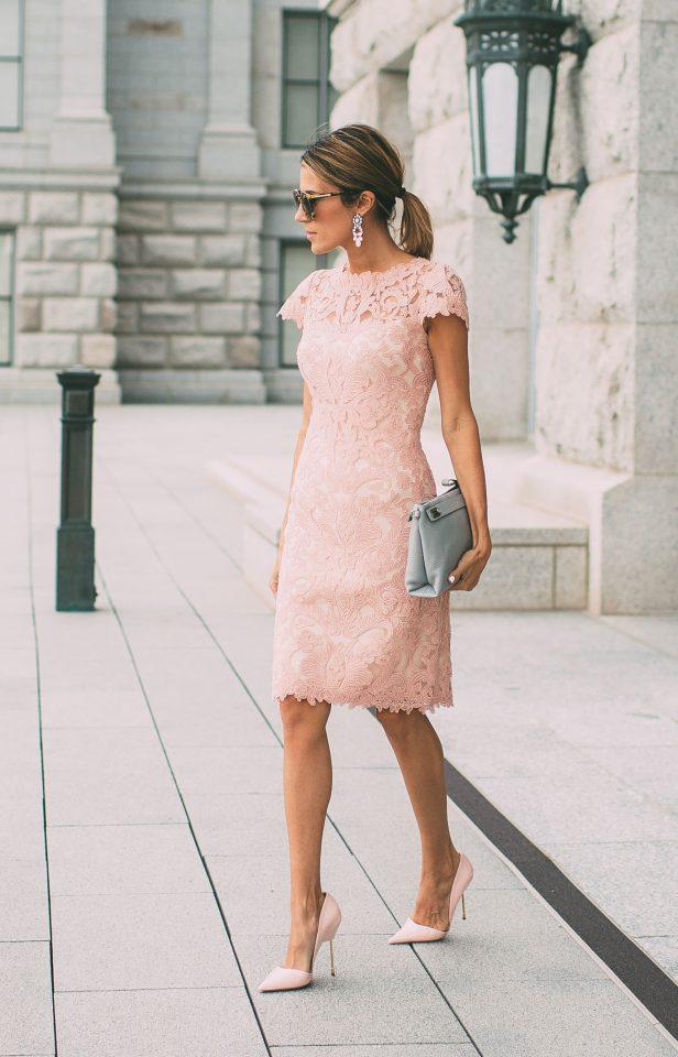 Crochet Pink Dress and Pastel Blue Handbag via