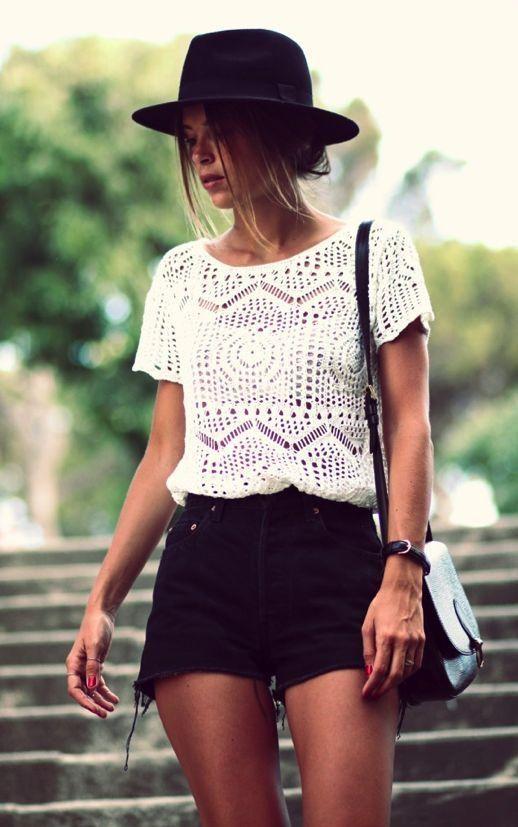 Crochet Top and Black Shorts via