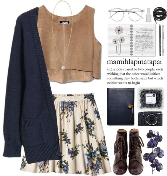 Crop Top, Floral Skirt and Blue Cardigan via