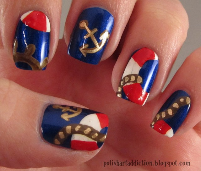 Cute Nautical Nails via