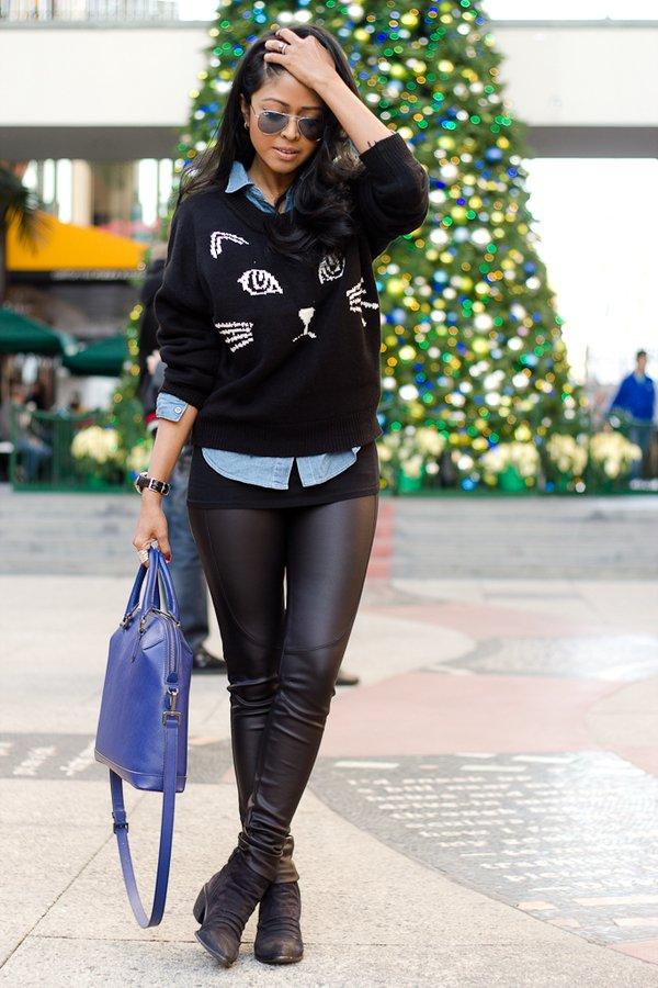 Cute Sweater and Denim Shirt via
