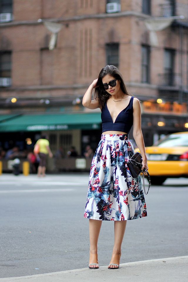 Deep Blue Crop Top and Floral Skirt via