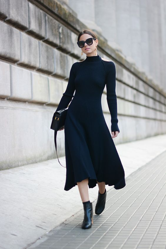 Deep Blue Knit Dress and Boots via