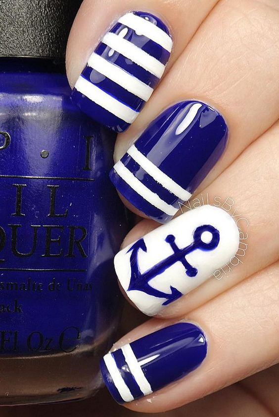Deep Blue and White Nails via