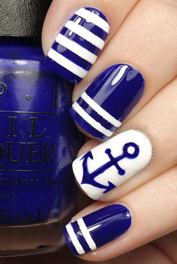 Deep Blue and White Nails via
